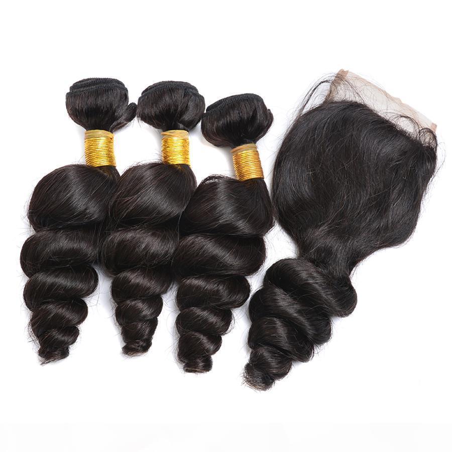 Wholesale cheveux brésiliens pas cher 8A péruvien indien malaisien extension de cheveux lâche vague 3 paquets avec fermeture en dentelle 8-30 pouces couleur naturelle