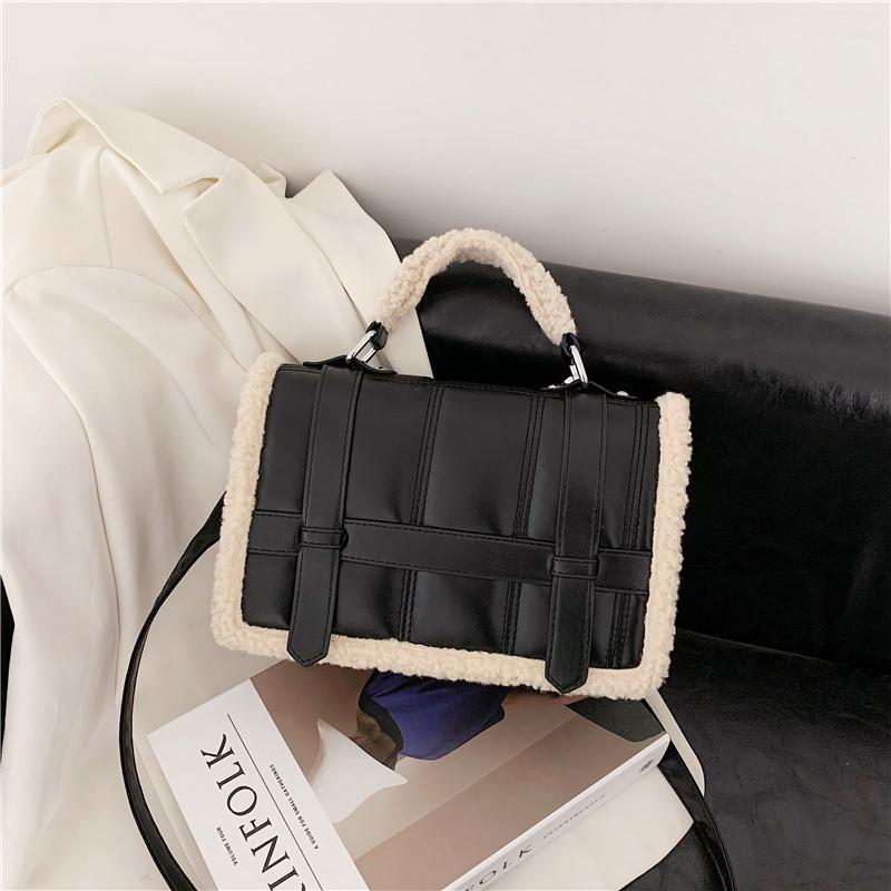 Kreuzkörper Frauen Handtaschen 2021 Designer Marke Luxus One-Shoulder Messenger Bag Trend PU Leder Plüsch