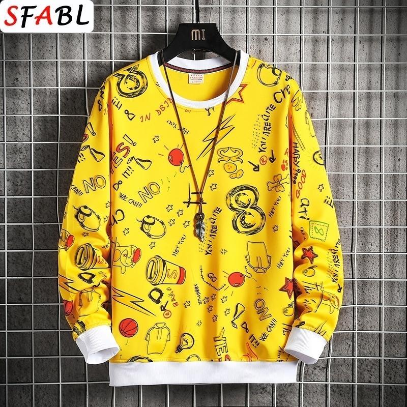 SFAB-Mode Handdruck gedruckt Pullover Hoodies Streetwear Männer Casual Harajuku Hoodie Herren Hip Hop Hipster Männliche Sweatshirt Tops Man Y201123