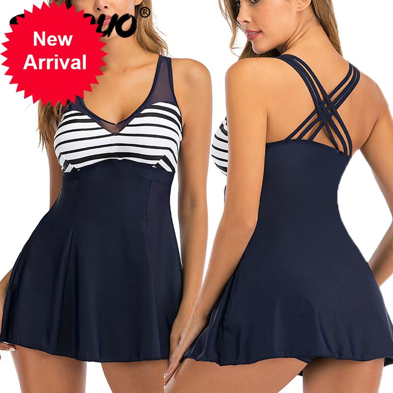 Swimwear Plus Swimsuit Skirt Sport Tankini 2020 Novo listrado Duas peças cruzadas vintage grande tamanho de banho de tamanho grande para as mulheres 5xl
