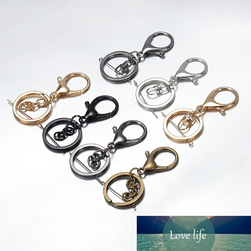 10 unids / lote llavero dividido 30 mm bronce rodio color oro langosta clips clips Classs para bricolaje llaveros haciendo