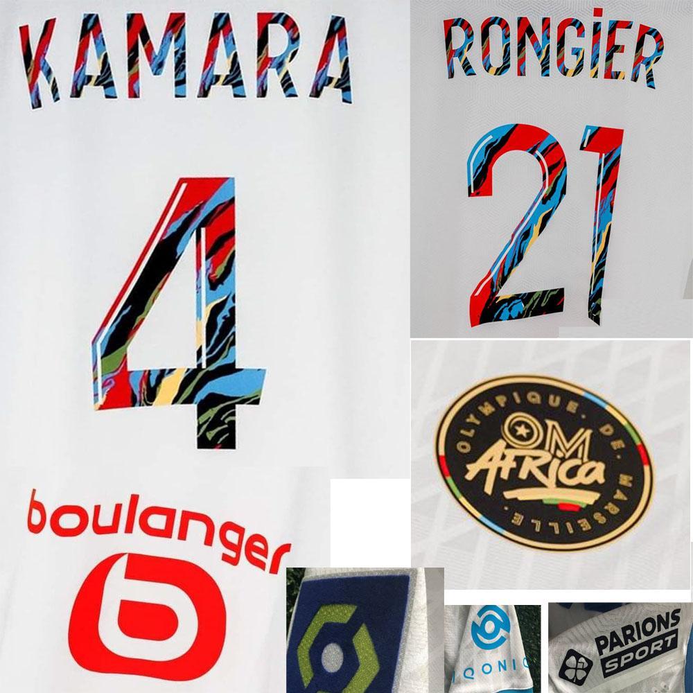 Jogador 2021 om África Maillot Payet Thauvin Leite Rongier Benedetto Kamara despeje CE 100EME Classique Futebol Patch Badge Imprimir