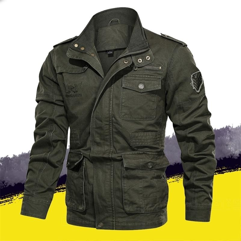 Autunno Giacca invernale Uomo Giacca militare Tactical Outwear Cappotto Mens Giacca Giacca Armato Multi-tasche Slim Fit Plus Size 4XL 5XL 201127