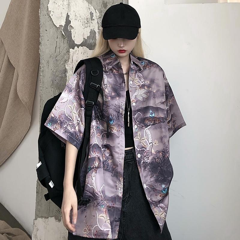 Harajuku Print Blouse Women Полукавные воротники винтажного винтаж плюс размер топы 2020 летней вершины корейский мода рубашки одежды T200429