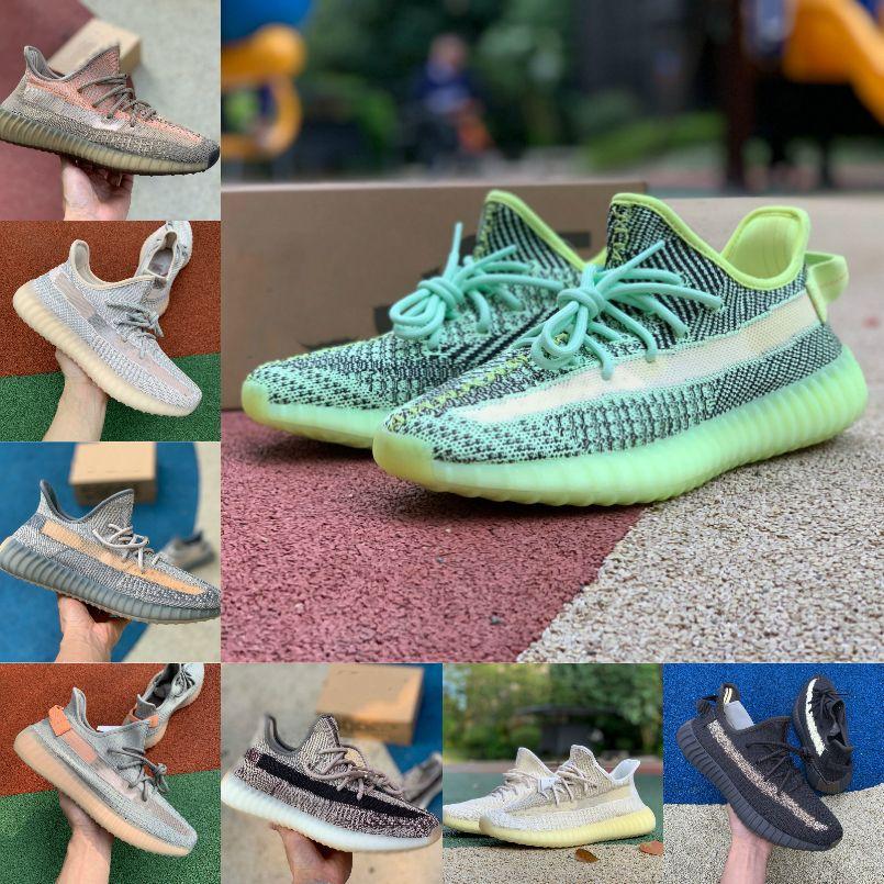 2021 Kanye West V2 Yansıtıcı Yeezreel Fade Karbon Doğal İsrafil cüruf Zyon Çöl Adaçayı Keten Yecheil Erkek Koşu Ayakkabı Kadınlar Sneakers