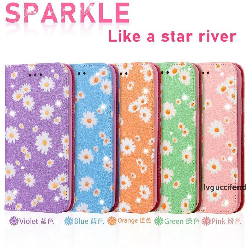 Цветочный блеск кожи кожаный корпус для iPhone 11 PRO XR XS MAX 8 7 6 SE 2020 Sparkle Sciple Sast Magnety Holder Holder Stand Flip Cover Cover