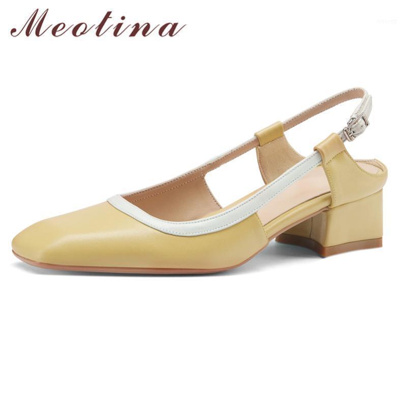 Sapatos de vestido Meotina Natural Genuine Leather Slingbacks Mulheres Mid Calcon Bombas Quadrado Toe Buckle Strap Calçado Feminino Bloco Saltos Sapatos1