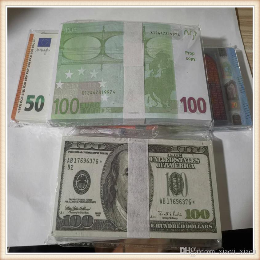 100 euros Collection d'argent en papier réaliste pour jouer à Jouet Jeu 03 Prop Enfants ou Billet de banque Copier la famille US 100pcs / Pack SXQHB
