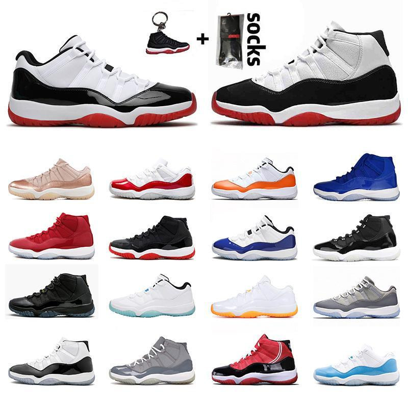 25e anniversaire 11 11S Faible Concord Bred High Space Space Chaussures Basketball Chaussures Cap et Robe Gamma Blue Jumpman 23 Baskets Baskets