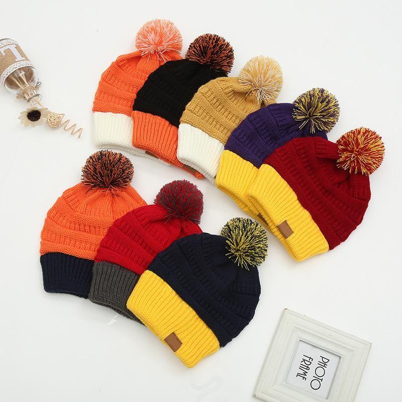 Sıcak Satış Fabrika Toptan kadın Kış Sıcaklığı Renk Blok Şapka Kalın Yün Topu Örme Şapka Colorblock Örme Şapka
