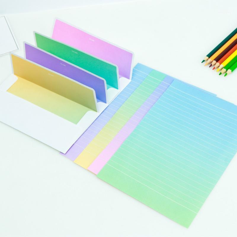 Creativo estilo coreano pequeno fresco gradiente bonito envelope letra papel conjunto 4 letra papel 2 envelope can1
