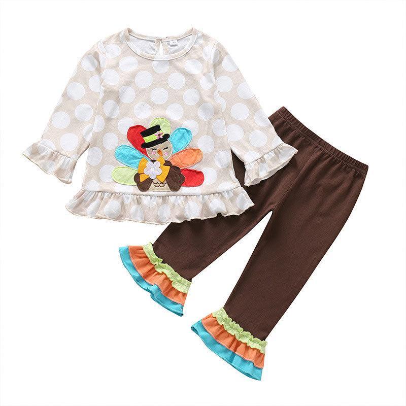 Мультфильм малыш девушка одежда весной осень детская одежда девушки наряд хлопчатобумажные длинные рукава топы + брюки детская одежда 1-4 года C0922