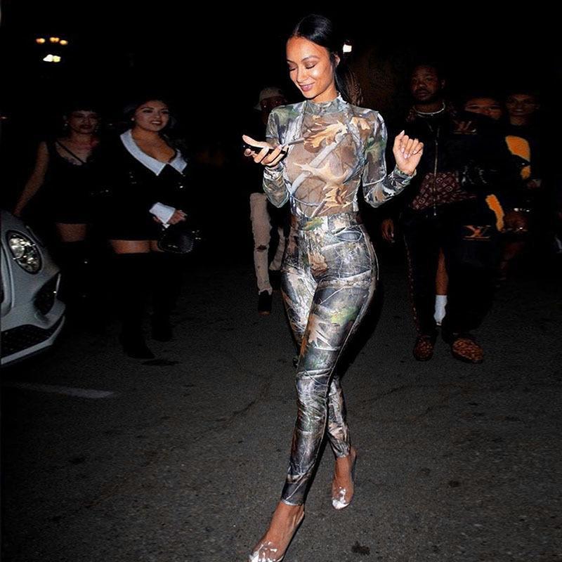 2020 manica lunga vintage stampa bodysuit leggings 2 pezzi set autunno inverno donne moda streetwear y2k tuta