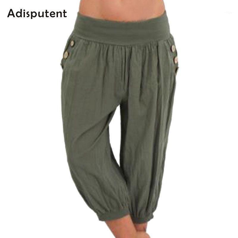 Donne adisputer Summer Solid Harem Pantaloni Allentati Ginocchio Pantaloni di lino Lenzuola Femmina Elastico Vita Capris Pantaloni Plus Size 5XL1