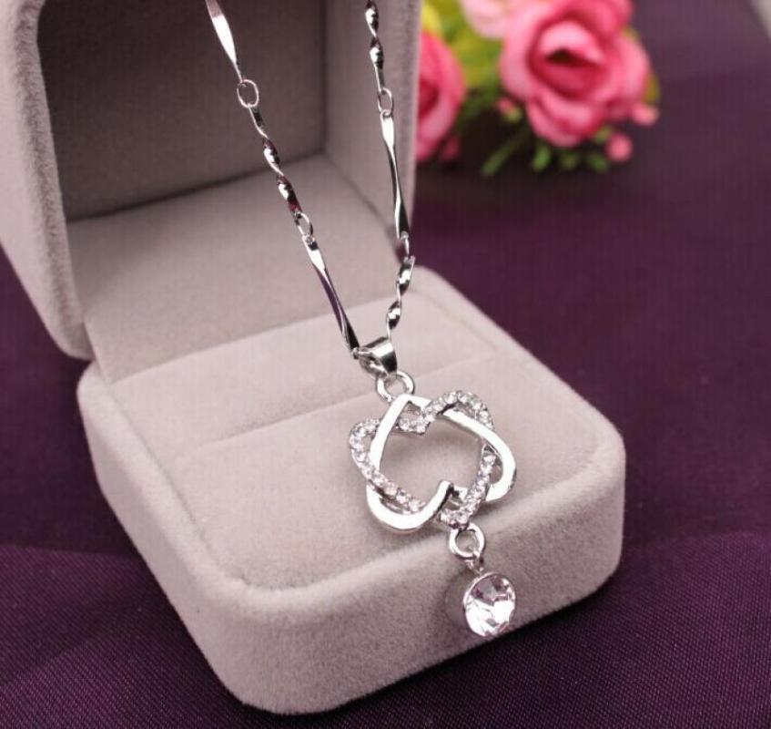 Ожерелье цепь двойное сердце P Choker Harajuku мода женские украшения подарок Kolye Bayan 18Jun29
