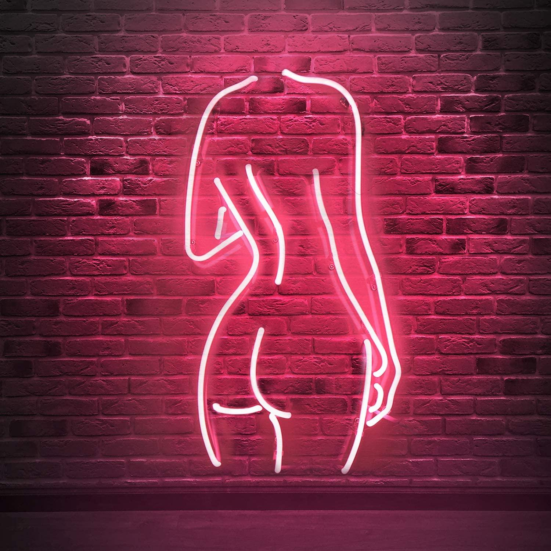 벌거 벗은 아가씨 실제 유리 네온 표지판 벽 침실 룸 장식 파티 장식 무료 배송