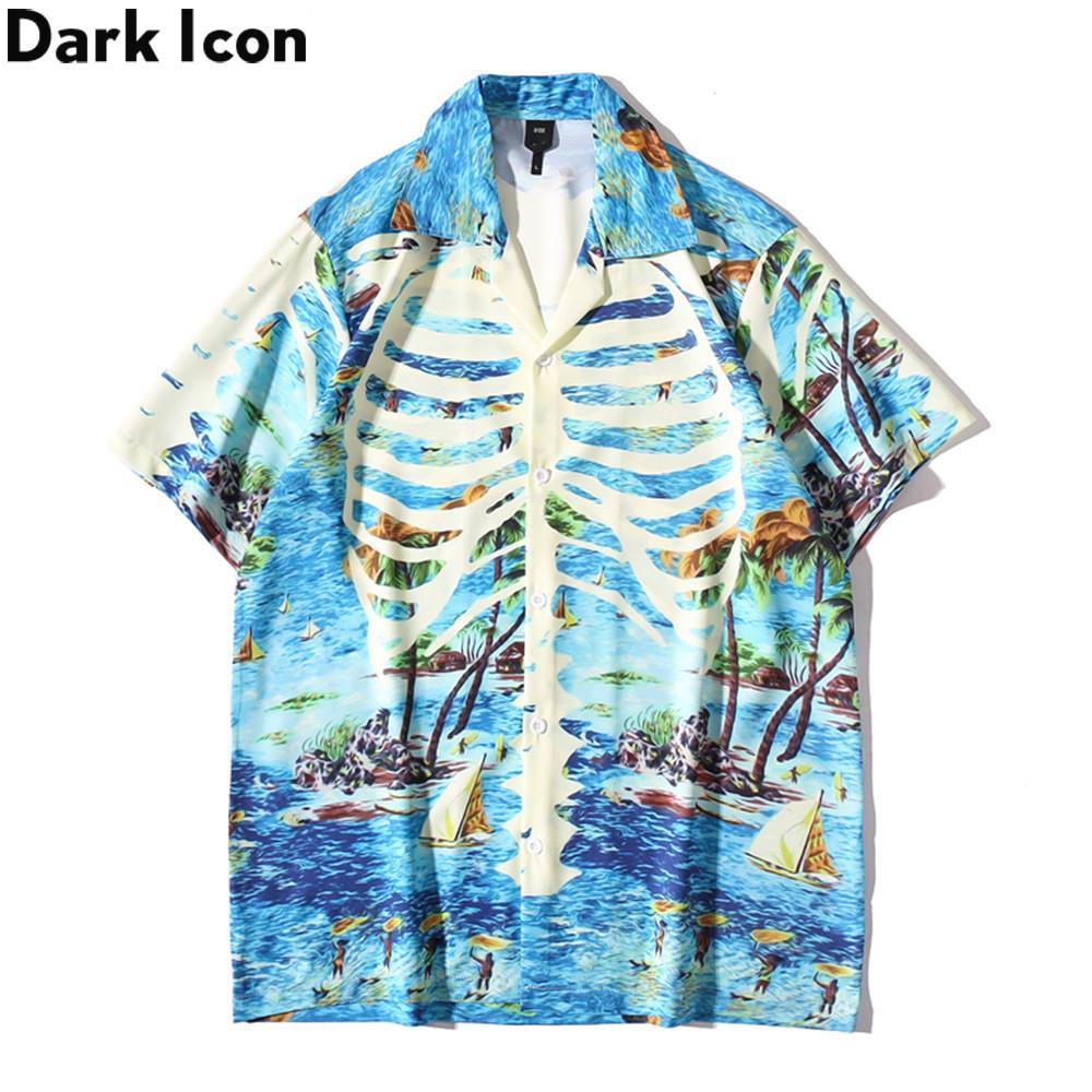 Karanlık Simge Kemikler Hafif Hawaii Gömlek Erkekler Yaz Polo Gömlek Vintage erkek Gömlek C1212