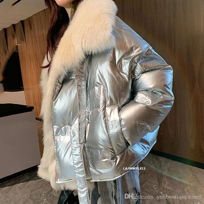 Hohe qualität silber glänzend pelzmantel kurze 90% runterjacke 2020 winter new outwear frauen yrf269