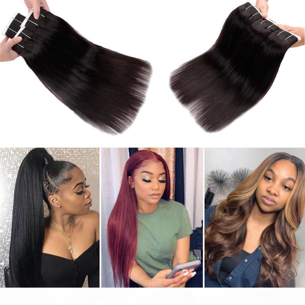 TOP TOP PERUVIAN VIER VIER Vierge Droit 3 Bundles Kinky Straight Deep Body Wave Cheveux Thermique Brésilien Malaisien Indien Kinky Crossly Extensions de cheveux