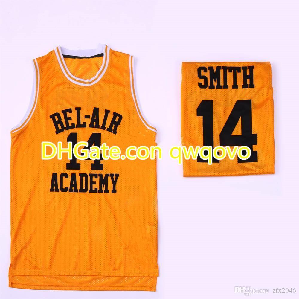 Свежий принц Бел-Air # 14 Уилл Смит Академия фильма # 25 Карлтон Банки Черный Зеленый Желтый Баскетбол Джерси Вышитые сшитые