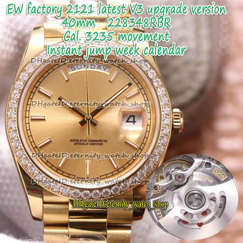EWF V3 ترقية نسخة 40MM CAL.3255 التلقائي الشمبانيا الطلب 228398 رجل ووتش 18ct حالة الذهب الماس الحافة الخلود الساعات 228348 228349