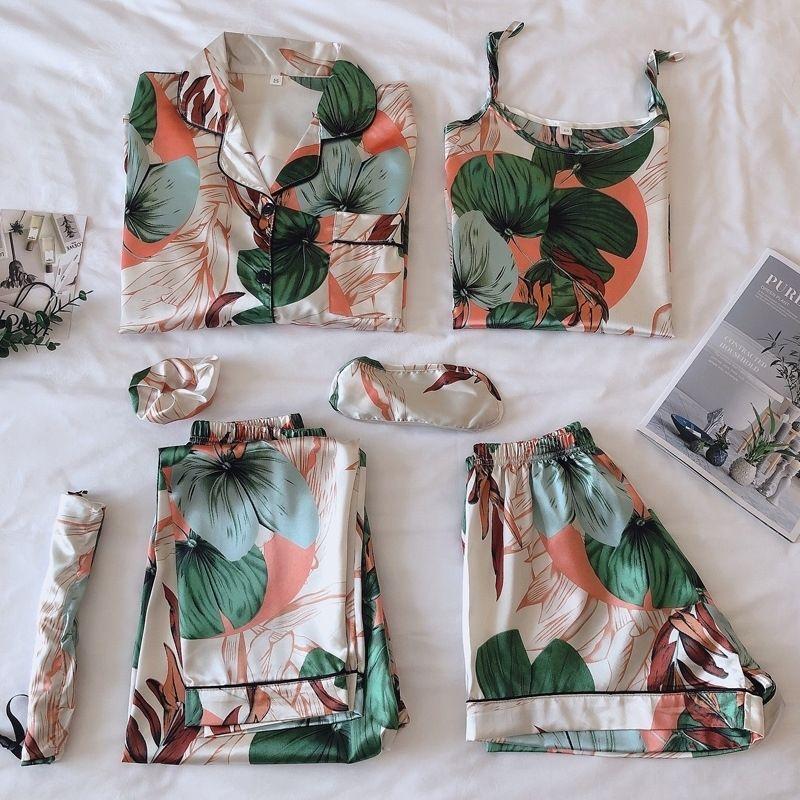 Strap Sleepwear Pyjamas Women's 7 Pieces Pink Pajamas Sets Satin Silk Lingerie Homewear Sleepwear Pyjamas Set Pijamas For Woman 201106