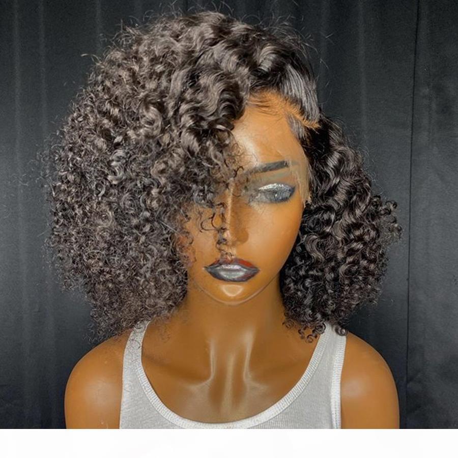 13x6 Dantel Ön İnsan Saç Peruk Ile Bebek Saç Kinky Kıvırcık Bob Tutkalsız Tam Dantel Peruk Brezilyalı Siyah Kadınlar Için Doğal Saç Çizgisi