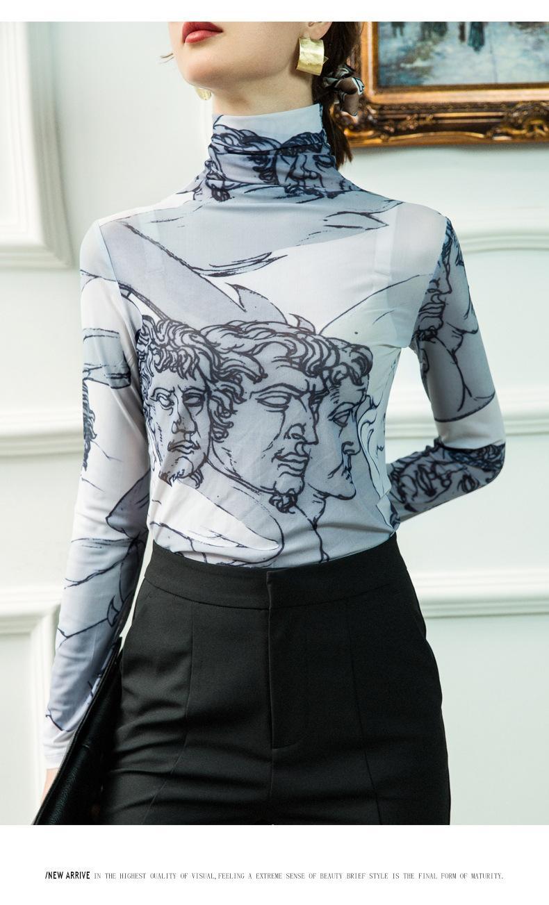 2020 Водолазка сетка Блуза Женщины Ренессанс печати с длинным рукавом See Through Top Ladies Sheer Designer Top одежда