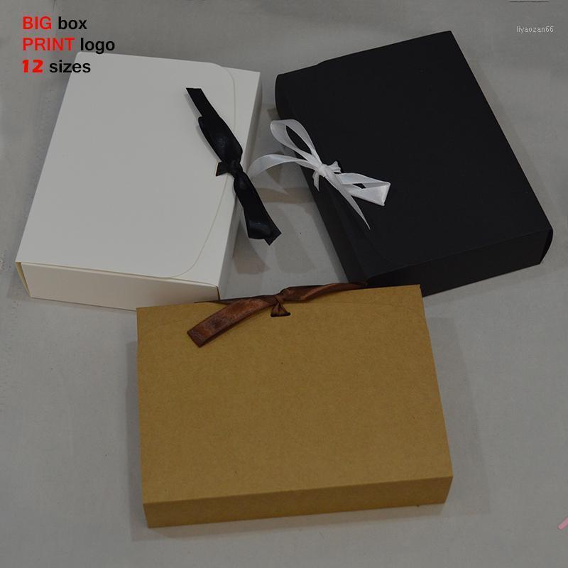 10 шт. Большая подарочная коробка с лентой Big Craft Box Wedding Favors Boxes Cake Package белый черный бумажный подарок большой для Party1