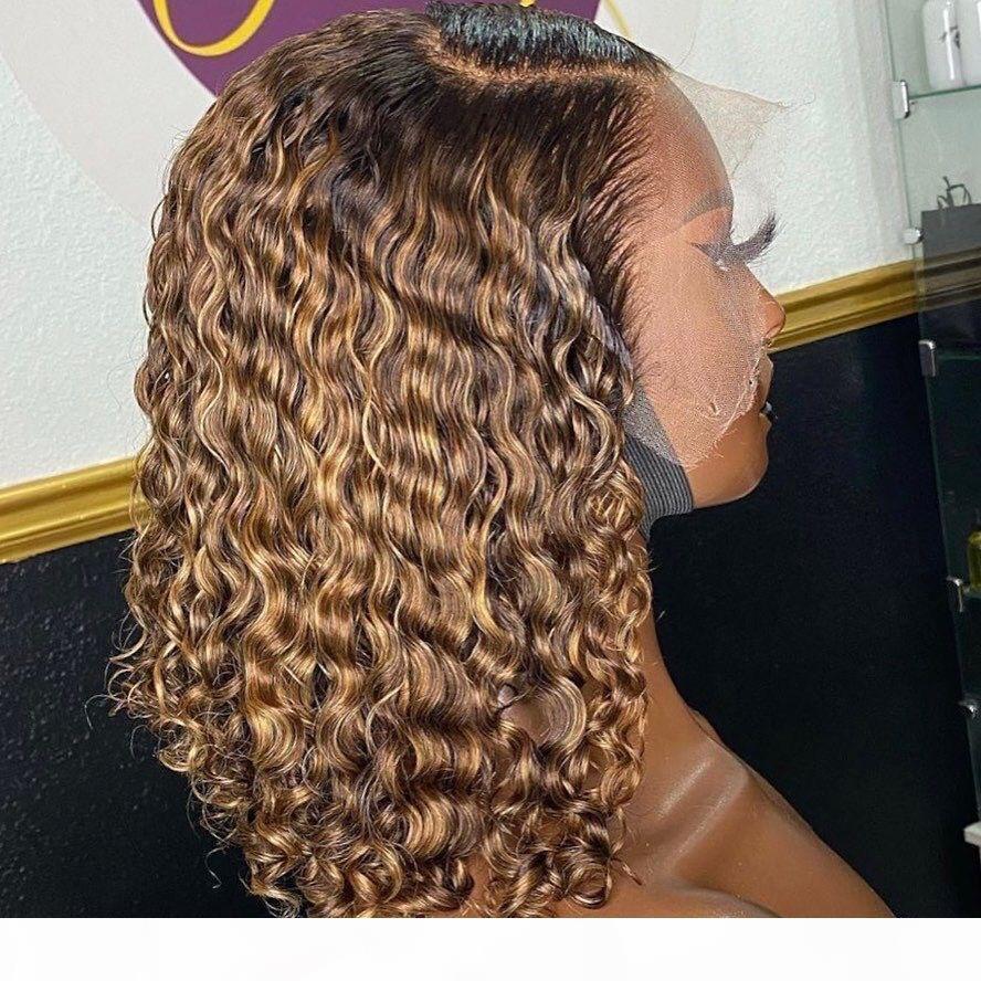 13 * 4 Curly Ombre T1B 27 Couleur Lace Front perruques de cheveux humains pour Remy femmes noires cheveux perruque brésilienne Pré Pincées Nœuds Blanchis