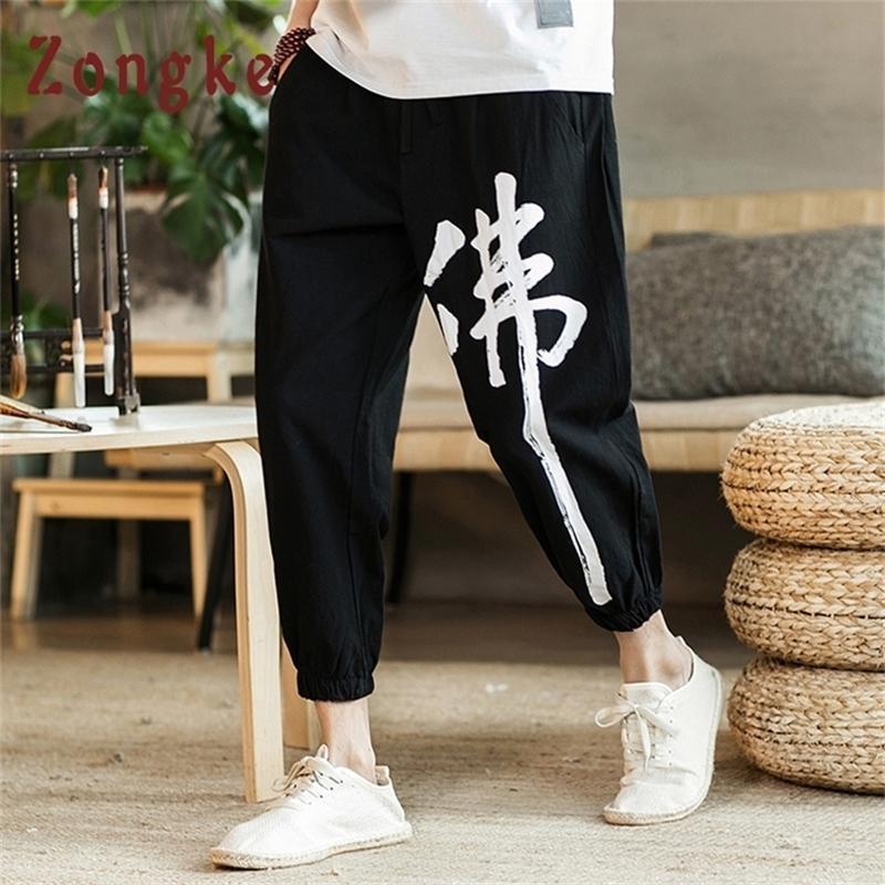 Zongke Chino Buda personaje Imprimir Tobillo Longitud Casual Fashions Hip Hop Joggers Streetwear Hombres Pantalones Y201123