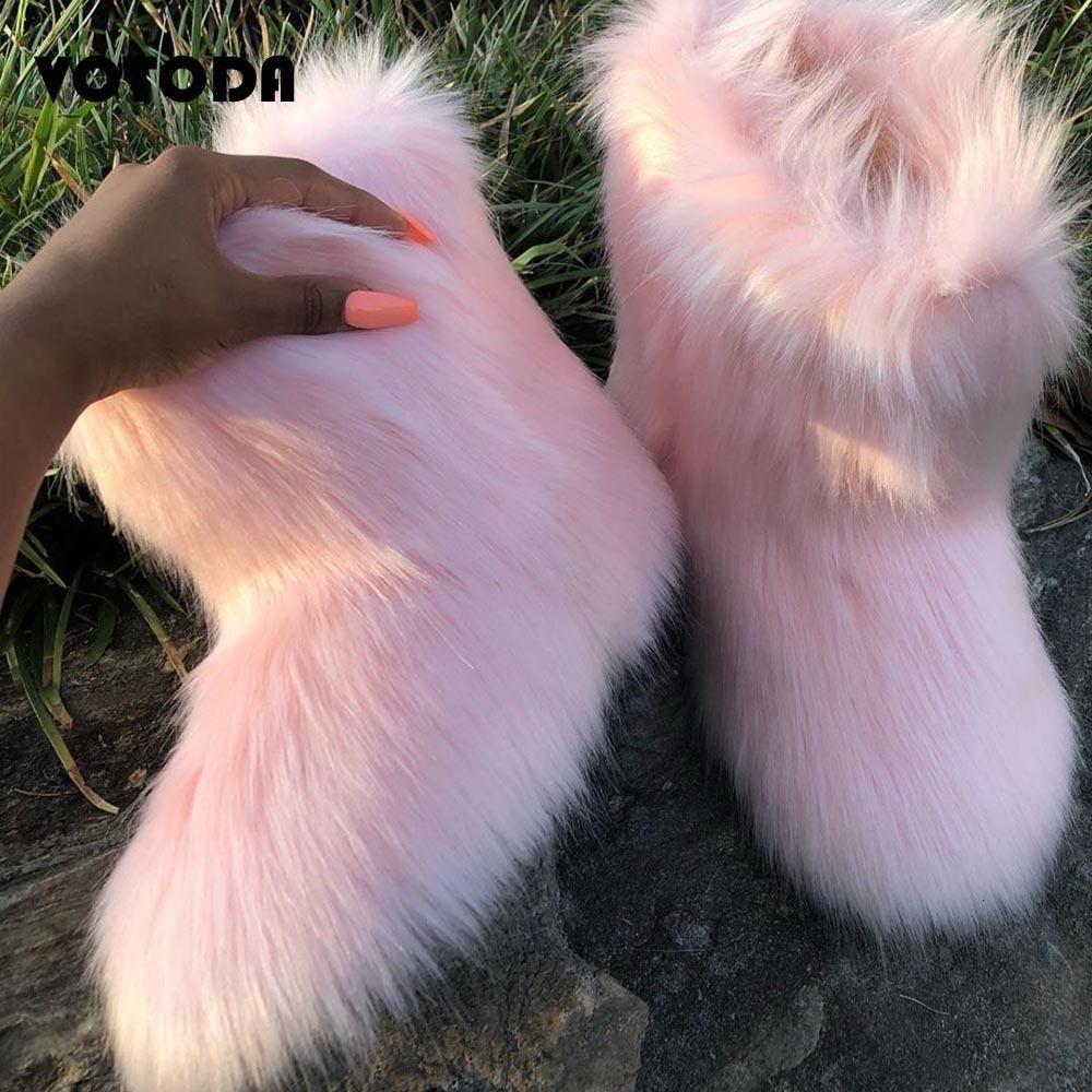 الشتاء المرأة الفاخرة الفراء رقيق دافئ فروي الثلوج الإناث الأزياء في الهواء الطلق عدم الانزلاق الأحذية موهير منتصف الأحذية