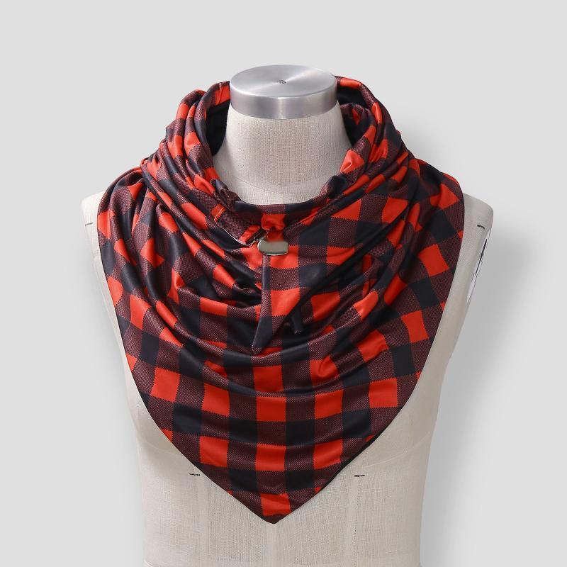 Fashion Universal Women Autumn Winter Warm Windproof Stitching Color Double-Layer Buckle Scarf Wraps Scarves Foulard Echarpe#35