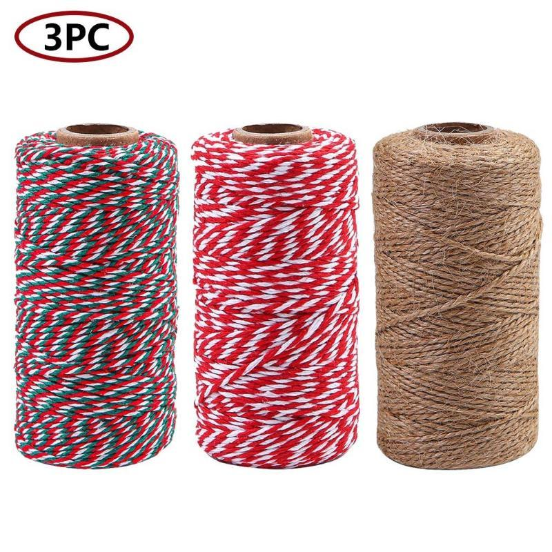 3Rolls DIY Twisted Cords Gift Packaging Accessories Packing Decoration Wedding Party Packaging Color Cotton Twine Rope #LR4