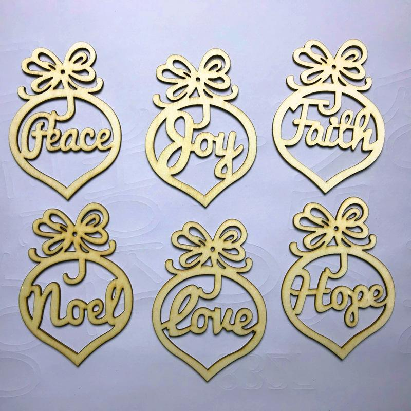 Noel Mektubu Ahşap Kilisesi Kalp Kabarcık Desen Süs Noel Ağacı Süslemeleri Ev Festivali Süsler Asılı Hediye
