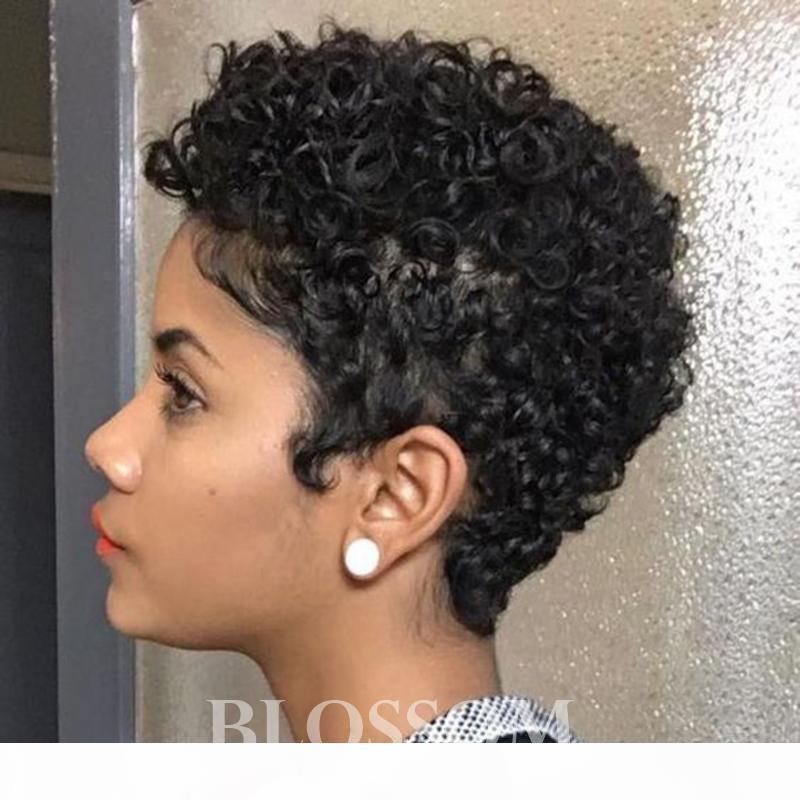 Ucuz İnsan Saç Peruk Brezilyalı En Iyi Saç Dantel Ön Peruk Küçük Kinky Kıvırcık Yok Tam Dantel Siyah Kadınlar Için Çok Kısa Saç Peruk