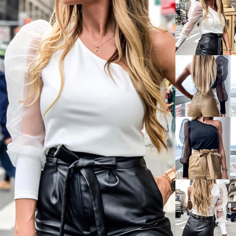 Мода женская пэчворк один вариант длинный комбинезон фонарь рукава топы блузки корейский стиль блузка женщины 2020 WY721