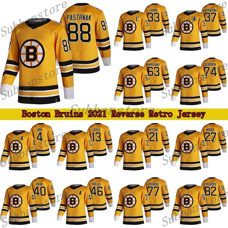 بوسطن بروينز 2021 عكس الرجعية جيرسي 88 ديفيد باسترنك 37 باتريس بيرجيرون 63 براد مارشاند 74 جيك ديبروسك الهوكي الفانيلة