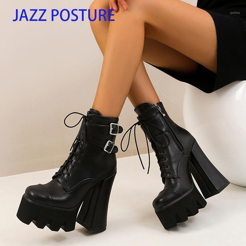 2020 NOUVEAUX FEMMES SEXY'S SEXY HIVER Bottes Noires PlatFrom Bottes Femmes Chaussures Mode De Mode épais High Heel Bottes Mode Grande taille Z6781