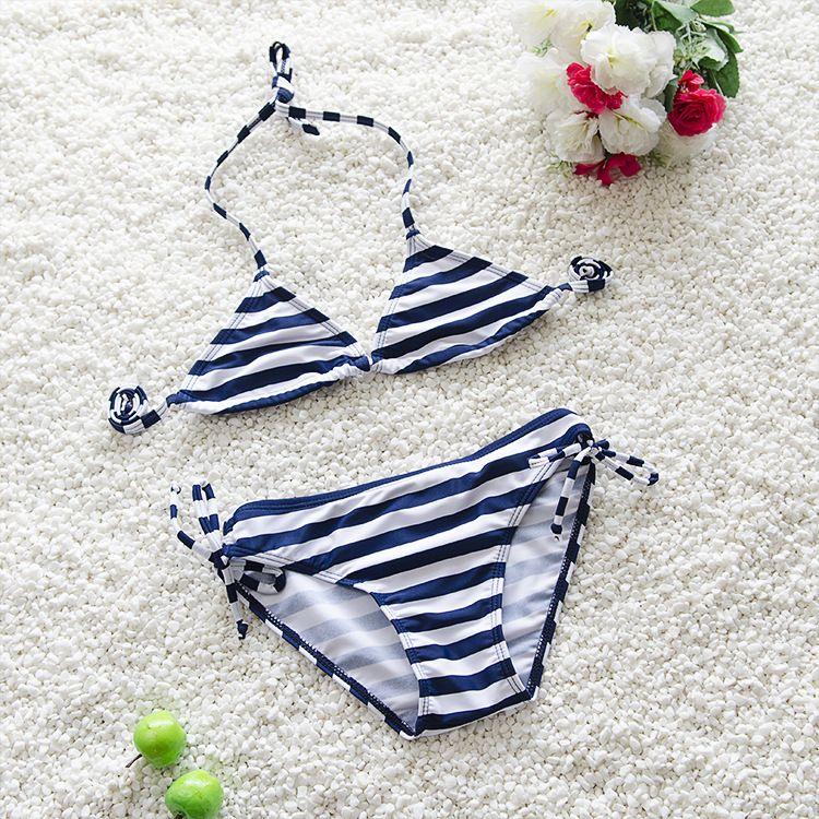 2021 New Girls Kids Swimwear Bikinis Sets Two Piece Suits Swimsuit Summer Striped Baby Children Bathing Suit Swim Beach Wear