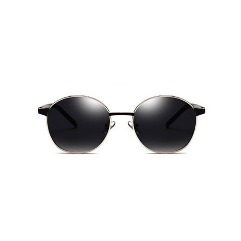 Lunettes de soleil HD de marque de marque HD, Hommes de haute qualité Miroir Miroir Miroir Cadre en métal Sunglasses avec verres rondes