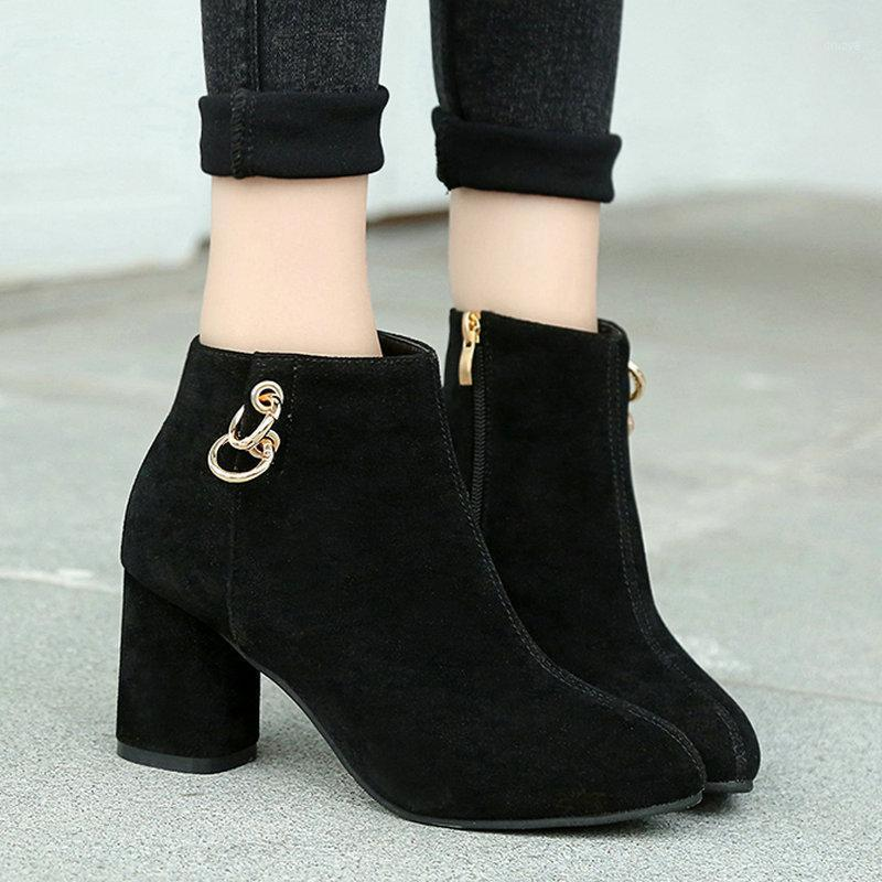Size34-43 2020 Plus Size New Women Ankle Boots Spring Winter High Quality Shoes Woman High Heels Europe Style Metal Ladies Boot1