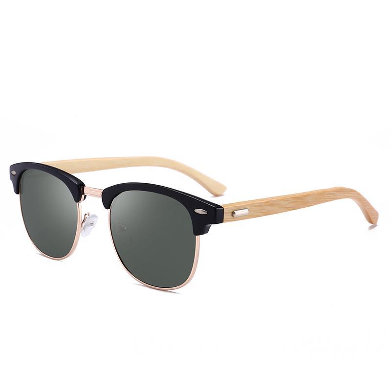 Tourisme Jambe Tendance Polarisée Hommes Femmes Bambou Rivet Pêche Anti Miroir Bois Décoration Sunglasses Mode UV Drive Verre Gexut