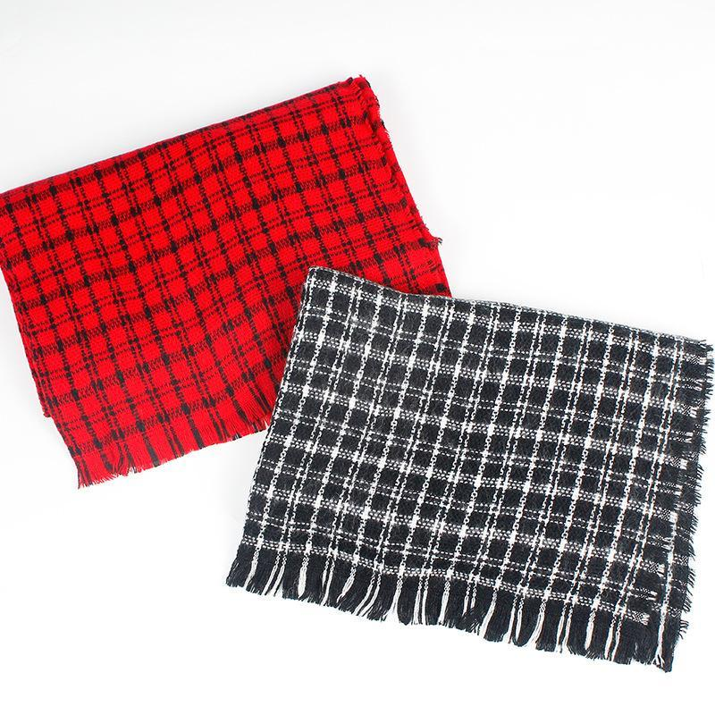 2020 new autumn and winter plaid scarf for women's versatile thickened warm dual purpose shawl