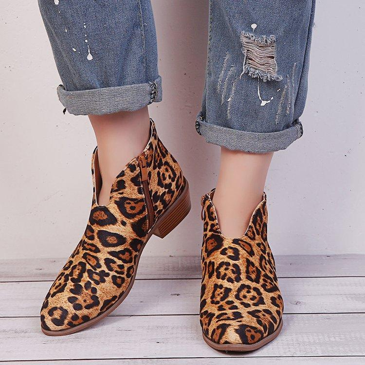 Hotsale Fashion Cross-border new leopard large size thick wit female Europe zipper with pointed boots and bare boot
