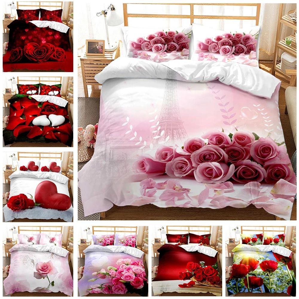Flor Rose 2021 Día de San Valentín Día 3D Imprimir Comodujo Ropa de cama Conjunto Heart Love Queen Twin Single Tamaño Duvet Funda Conjunto de almohada Lujo