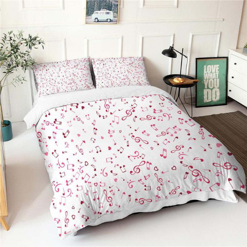 White Bedding Set Pink Musical Notes Pattern Duvet Cover Fabic Home Textiles King Queen Size Bed Sheets And Pillowcases
