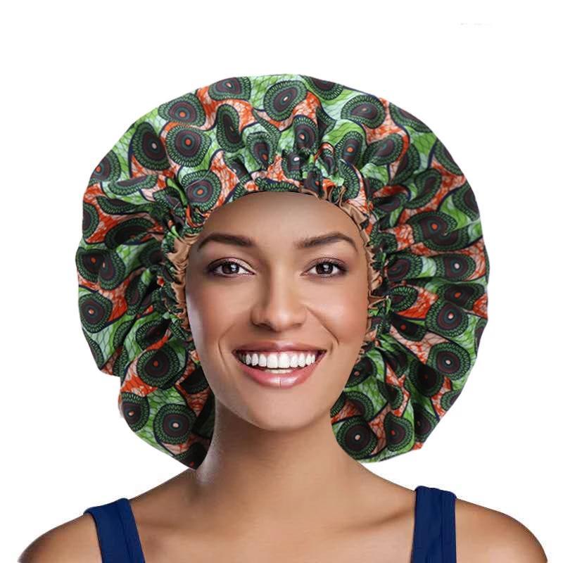 Europa y los Estados Unidos Popular African Style Fashion Impreso Impresionado Noche Elástica Cap Damas Ampliado Sombrero Doble Bonnet Elástico