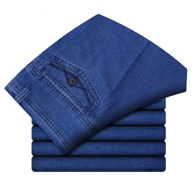 30-45 İş Klasik Erkek Streç Artı Boyutu Baggy Düz Denim Pantolon Pamuk Mavi Çalışma Kot Erkekler