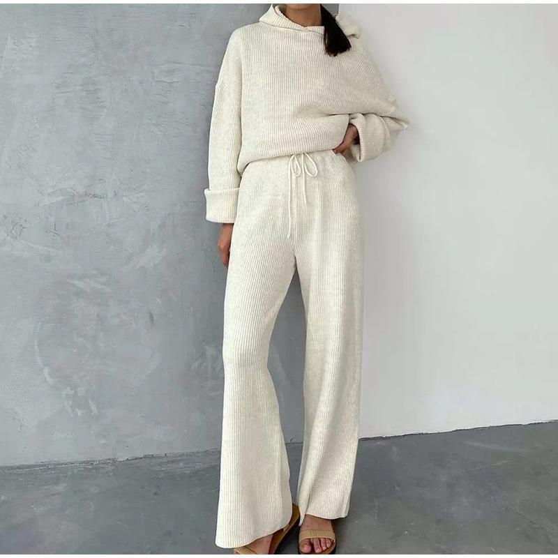 Chándal de punto chándal para mujer con cordón frontal grande bolsillo 2 pieza conjunto sudadera + pantalones traje hembra primavera otoño sueltos sueltos sets